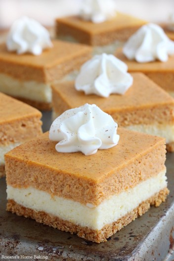 pumpkin cheesecake bars for pumpkin dessert you have to make this fall