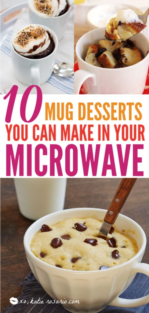 10 Mug Desserts You Can Make In The Microwave | With these mug desserts, you can have a scratch made dessert in minutes that tastes just like the real thing. These mug desserts are made in the microwave and are easy to prep and easy clean up since everything is in one coffee mug. Everyone will enjoy these coffee mug dessert recipes. #xokatierosario #mugdessertrecipes #coffeemugdesserts #microwavedesserts #easydessertrecipes