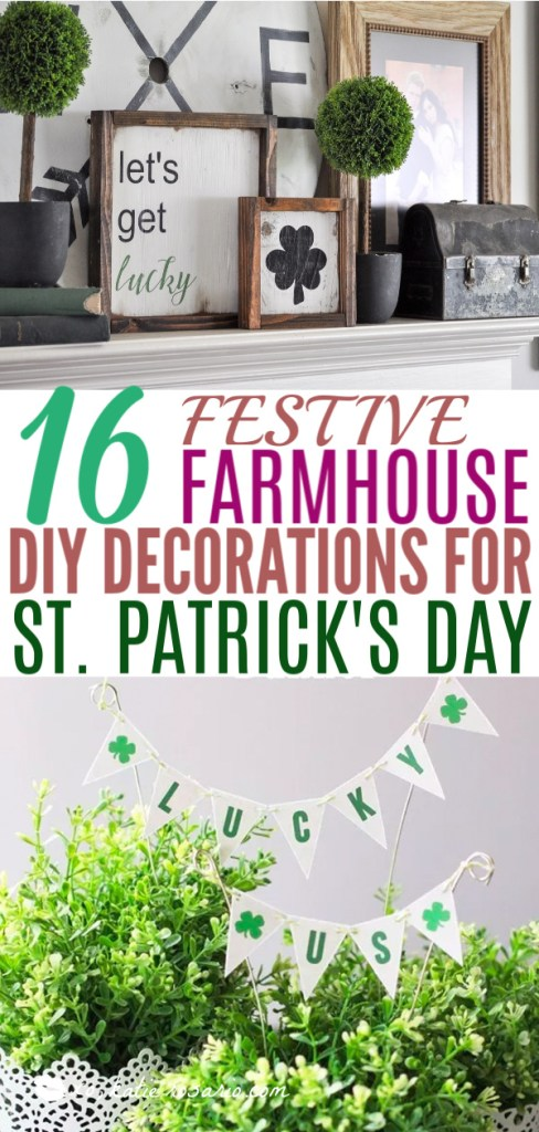 10 Festive Farmhouse St. Patrick's Day DIY Decorations | These adorable St. Patrick's Day decorations are perfect for a weekend of celebrating the lucky holiday. These DIY decorations will fit a great with your farmhouse rustic home decor while being festive at the same time! Choose from St. Patrick's inspired tablescapes, DIY signs, shamrock garlands or mini banners that work in desserts and centerpieces! #xokatierosario #stpatrickdaydecor #stpatricksdaydiycrafts #farmhousehomedecor
