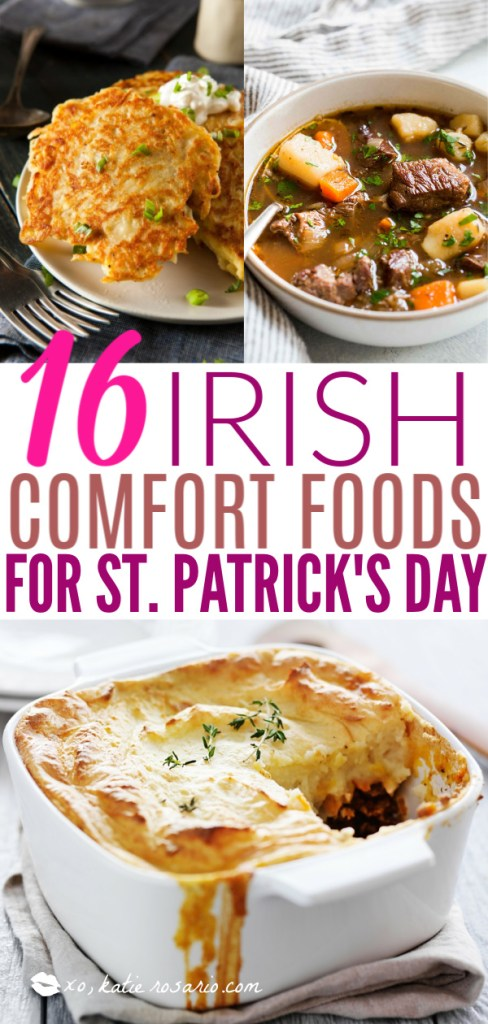 16 Irish Comfort Foods for St. Patrick's Day | These Irish comfort foods have the spirit of tradition with a fun twist. Irish food is rooted in tradition and is typically stews or long braises which to me is instant comfort foods. These dishes are hearty and just melt in your mouth. Choose from slow cooking stews, pan-fried potatoes, and lots of Guinness beer. #xokatierosario #irishcomfortfood #irishrecipes #stpatricksdayrecipes