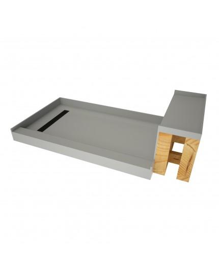 tile redi rt3048l mb rb30 kit 2 5 base n bench 30x60 shower pan left mb trench w seat