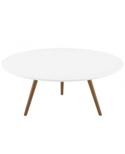 modway eei 3659 wal whi lippa 36 inch round wood top coffee table with tripod base in walnut white
