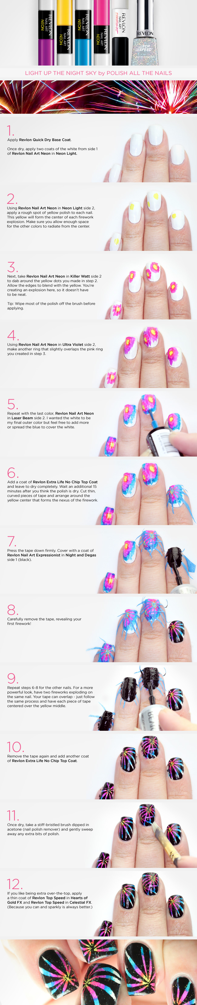 Light Up the Night Sky: Fireworks Nails Tutorial - Xoxo Emmy