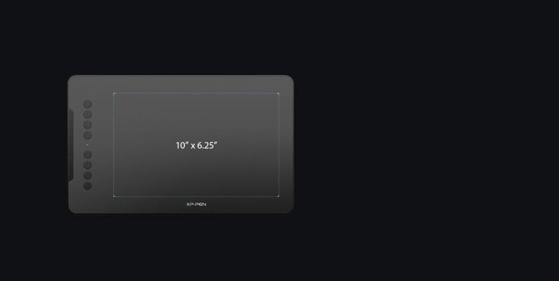 Az XP-Pen Deco 01 grafikus tábla 10 x 6,25 hüvelykes munkaterülettel rendelkezik