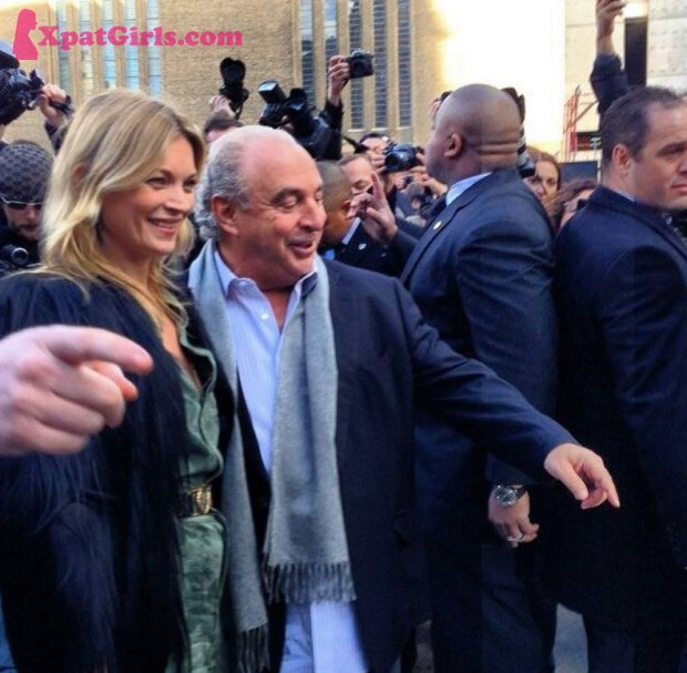 Kate Moss with Sir Philip Green at Topshop AW14