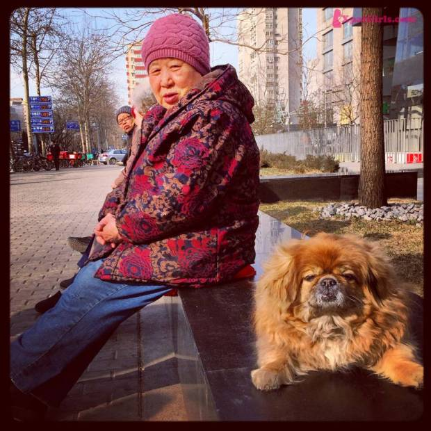 A woman with her beloved dog