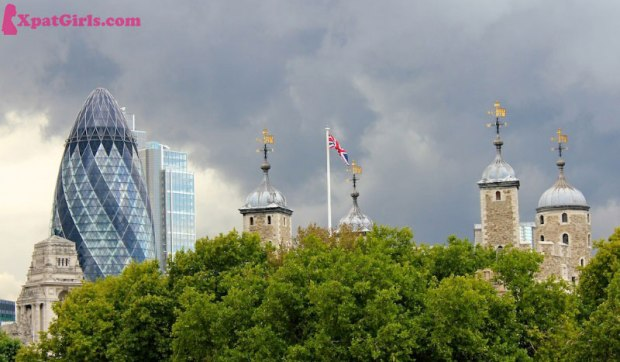 The old and the new! London's Gherkin behind the Tower of London