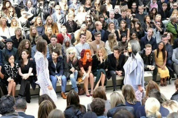 Biffy Clyro sitting in the front row at LFW