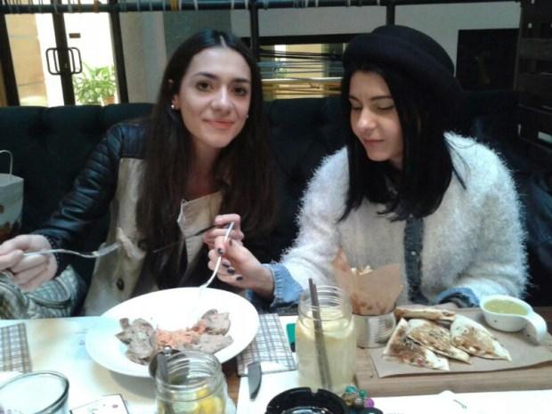 Teo and I, savouring Romanian food, Bucharest, last Xmas
