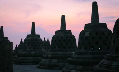Dreamy sunrise at Borobudur in Yogyakarta, Indonesia