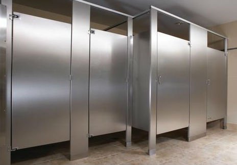 commercial bathroom stainless steel privacy stall partition walls.