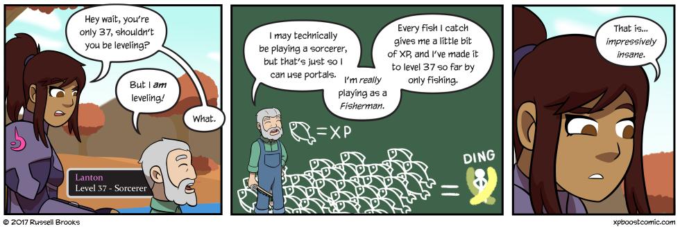He really likes fishing, you guys.