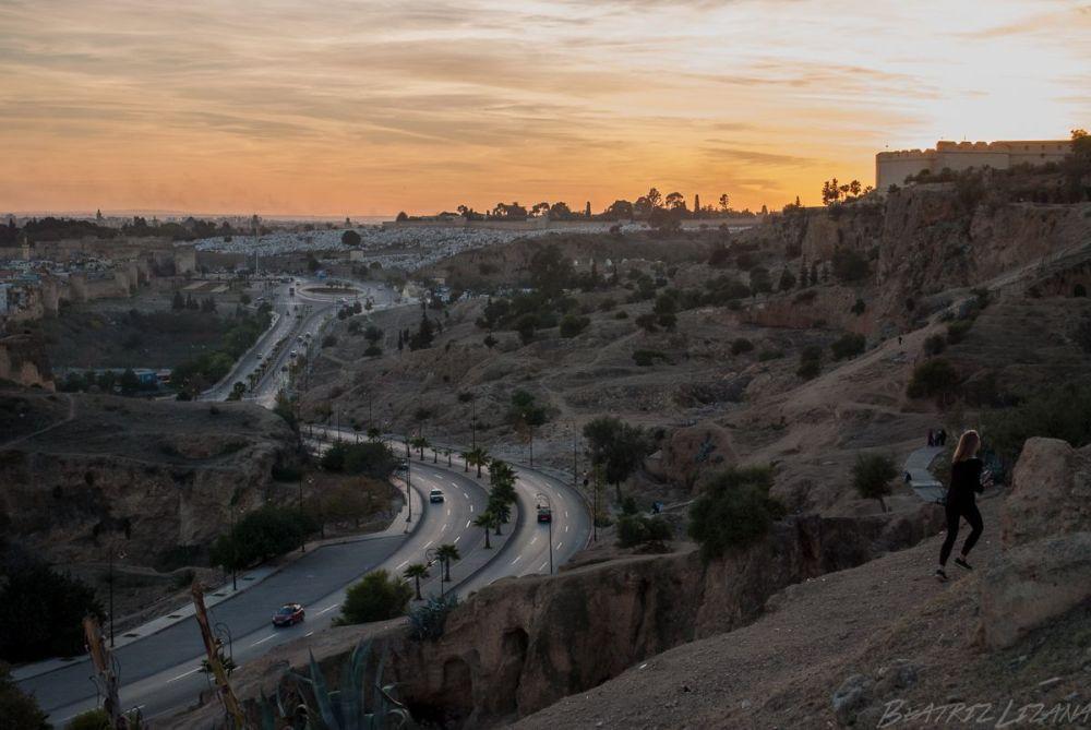 Viajar sola por Marruecos: vista del atardecer en Fez