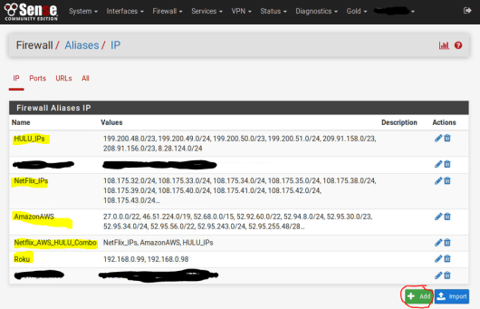 Private Internet Access - pfSense Firewall Aliases screenshot