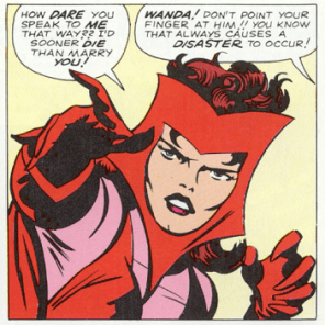 It's actually sort of a tube that goes around her whole head, but it's funnier if you pretend the Scarlet Witch is basically just villain-breading. (X-Men #4)