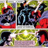 "If there were an X-Men drinking game, ""Dark City-style brain-ray psychic duel"" would definitely be on the list. (X-Men #150)"