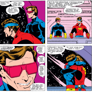 Cyclops has a good day (and completes an unprecedented SECOND successful hug in the same story!), but this plot thread is going to lead straight to Madelyne Pryor, so, that's probably a net loss. (X-Men #167)