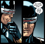 Curse of the Mutants Cyclops kinda reads like someone who read a bunch of hard-boiled detective novels but didn't quite understand the jargon. (X-Men #4)