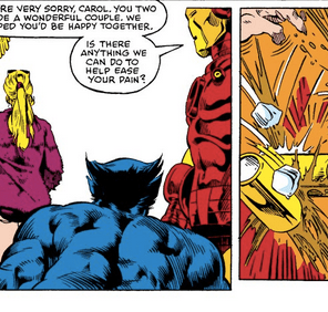 You know the runs that gymnasts do as the lead-up to really spectacular tumbling passes? This is Chris Claremont's equivalent, only instead of doing a bunch of flips, he is going to call out some of the most bullshit writing of the previous year. (Avengers Annual #10)