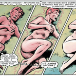 It's really convenient that Rahne landed in that particular position. (Marvel Graphic Novel #4)