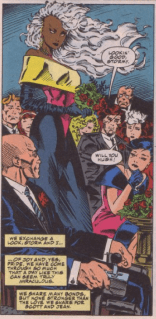 Can we have a moment of silent appreciation for the fact that Storm managed to find a dress that perfectly encapsulates the 1990s? (X-Men vol. 2 #30)