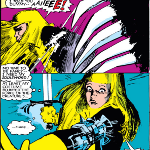 Illyana's soul armor makes its first appearance. (New Mutants #19)