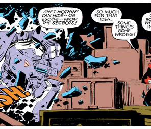 The robot enforcers of the U.S. Securities and Exchange Commission. Or something. (X-Men #193)