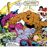 Even the Thing is having trouble maintaining enthusiasm for this debacle. (Secret Wars II #7)