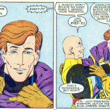 A) Scott looks like a doof without his glasses. B) I wonder if Marvel got a lot of pissed off letters about his eyes changing color in this issue. (X-Men/Alpha Flight vol. 1, #1)