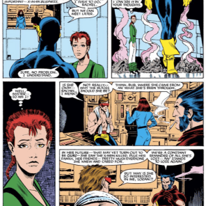 "We'd make ""Rachel and Scott Summers pointedly fail to communicate"" a drink cue, but no one's liver deserves that. (Uncanny X-Men #199)"
