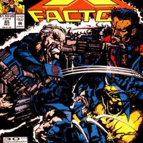 The cover of X-Factor #85 features three men with at least four men's worth of individual muscles between them.