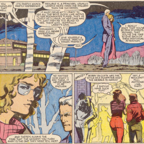 They're talking about two entirely different things, but only one of them realizes it. (New Mutants #45)