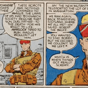 Note that even in a dark dystopian future, neither Sam nor Dani is desperate enough to wear those awful graduation costumes. (New Mutants #48)