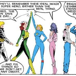 The really great thing about this reference is that there's also a Brigadier Lethbridge Stuart running around UK-616. I bet they get each other's mail all the time. (Uncanny X-Men #218)