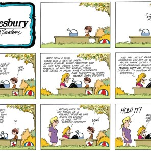 Whether Douglas the Gentle Freak is the Doonesbury-universe version of Cypher remains a mystery. (We'd like to think so, though.)