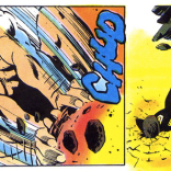 Remember that time the protagonist, a superhero, straight-up smashed a dude's head in with a boulder? Because that definitely happened in this comic.
