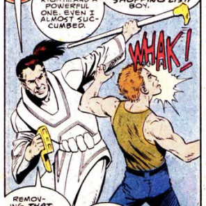 The High Evolutionary's head scientist, Stack, appears to be dual-wielding a cane and a staple gun. Because, evolution. (New Mutants Annual #4)