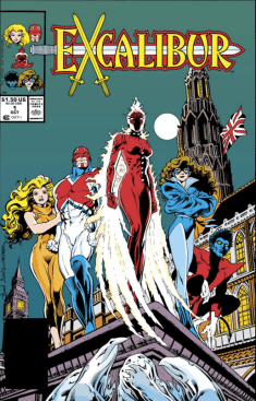 It's the front-cover equivalent of the slow-motion hero walk. (Excalibur #1)