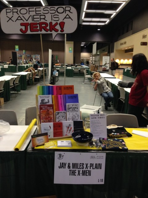 Our table! We set everything up, took a photo, and then took most of it down, because we didn't have a dropcloth. BUT! We have a photo, so we will know where it all goes tomorrow.