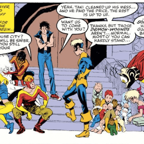 Savor this moment: it's not often you get to see New Mutants making a responsible choice! (New Mutants #72)