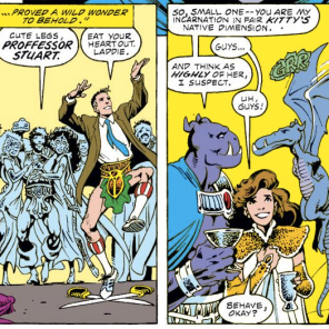There is... a lot going on in these two panels. (Excalibur #17)