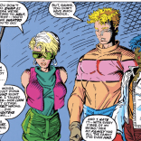 The combination of the visible belly button and the coloring really make it look like Sam's wearing a pink tube top. (New Mutants #89)