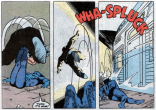 He'll turn out to have been an Infectia monster and therefore doomed anyway, but that doesn't really change the fact that Beast just kicked a dude in front of a train. (X-Factor #55)