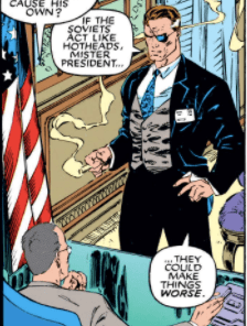 You'd think S.H.I.E.L.D. would pay Nick Fury enough to buy a suit that fits. (X-Men #1)