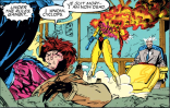 CORRECTION: Gambit did not kiss Jean. He kissed a robot replica of Jean, which then exploded. We regret the error, but Gambit probably regrets it more. (X-Men #1)