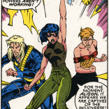 I unironically love this trio of dramatic poses; and also the fact that I absolutely believe that these characters would pose dramatically before fights. (X-Men #6)