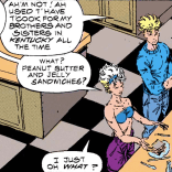 My bad--on second look, they are not actually making PB&Js. (X-Force #6)