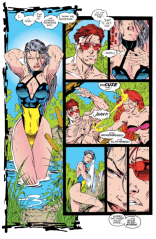 Once you see the Pikachu in Psylocke's swimsuit, you'll never unsee it. (X-Men #8)