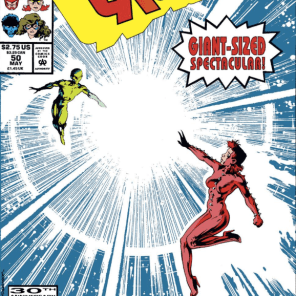 Props to introducing the new logo as a punchline to the previous cover. (Excalibur #50)
