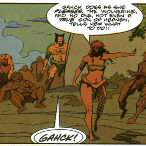 Gahck has no time for your nonsense. (Wolverine: The Jungle Adventure)